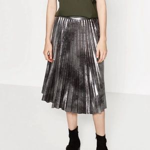 Zara Woman Metallic Accordion Pleated Midi Skirt